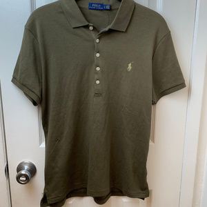 NWT Polo By Ralph Lauren Olive Polo Shirt. Lg